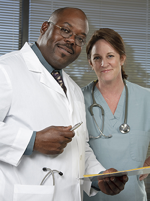 Portrait of two healthcare providers.