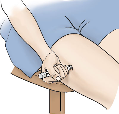 Injecting the epinephrine autoinjector against the outside of your thigh