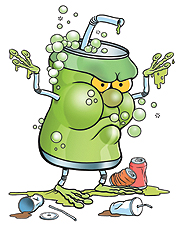 Cartoon image of a soda monster.